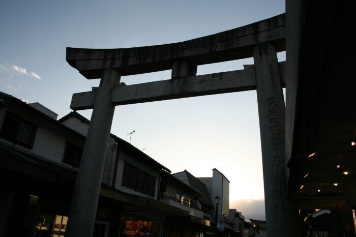 日本の夕方の風景「福岡 太宰府」