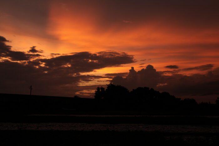 日本の夕方の風景「長野 佐久」