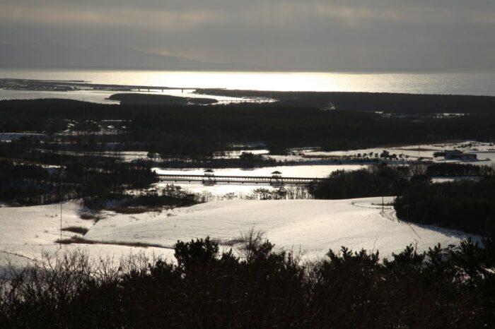 唐川城跡展望台から見る十三湖