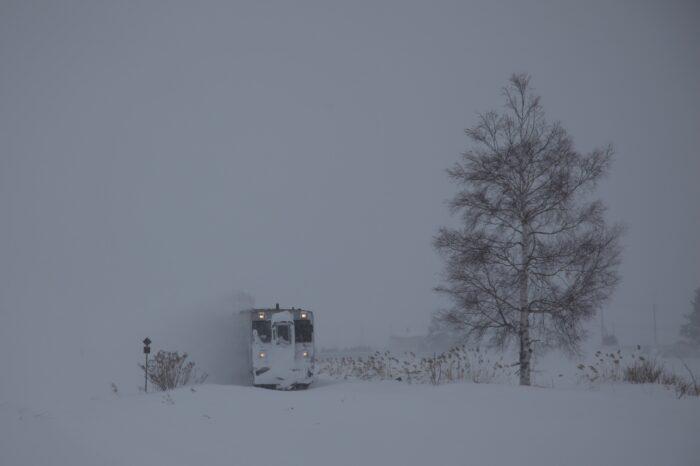 北海道空知郡中富良野町字中富良野 雪の中から現れる富良野線