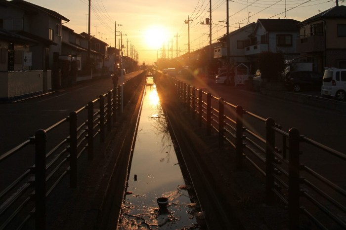 行田市の夕日