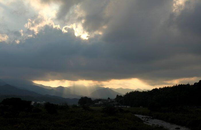 鳥取県倉吉市耳 夕暮れの風景
