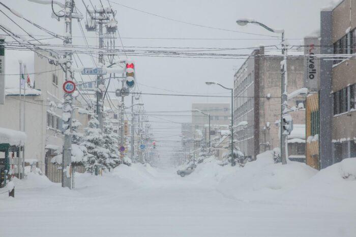 冬の北海道 二月の旭川の風景