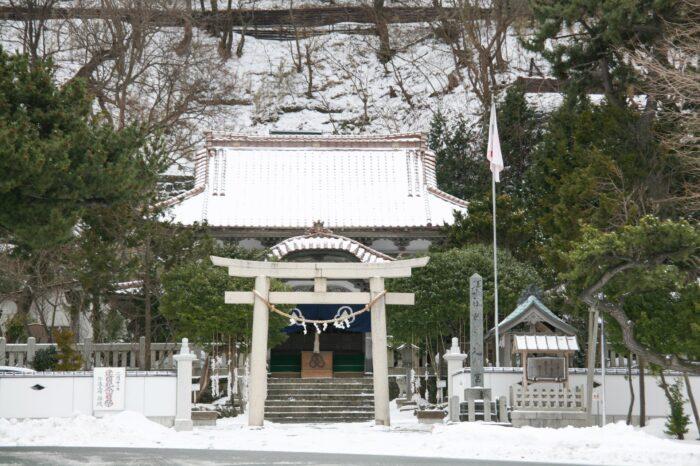 冬の北海道 二月の江差町の風景