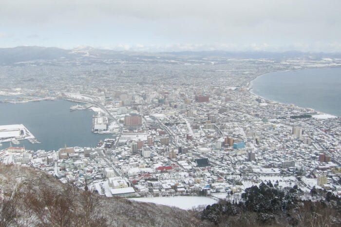 冬の北海道 一月の函館の風景