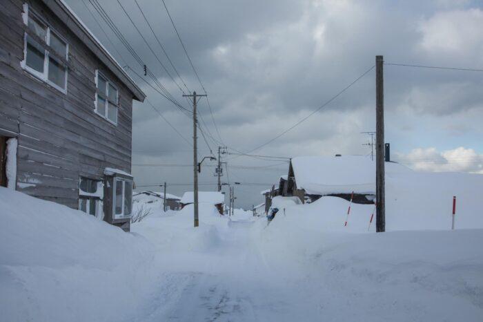 冬の北海道  二月の石狩市の風景