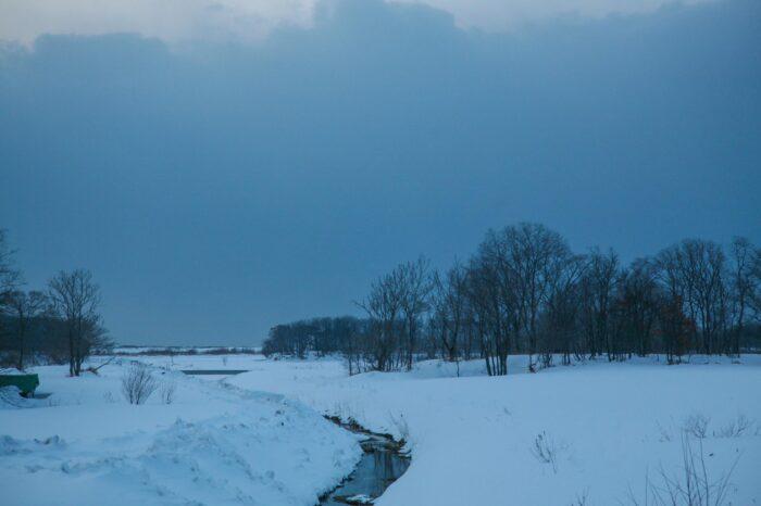 冬の北海道 三月の石狩の風景