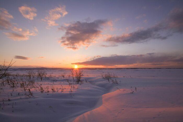 冬の北海道 三月の能取岬の風景