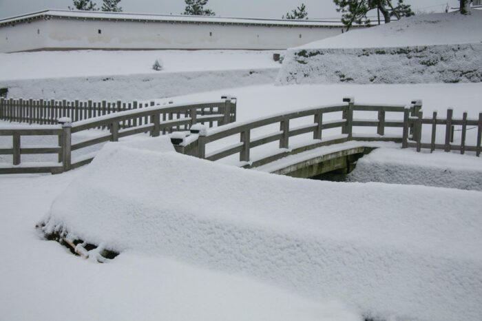 冬の北海道 十二月の松前城の風景