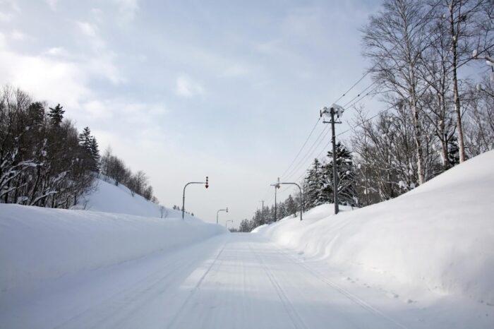 冬の北海道 二月の音威子府の風景