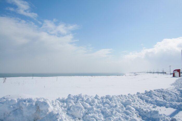 冬の北海道 二月の猿払村の風景