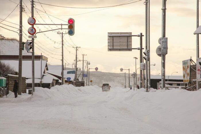 冬の北海道 十二月の積丹の風景