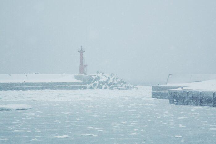 冬の北海道 二月の知床の風景