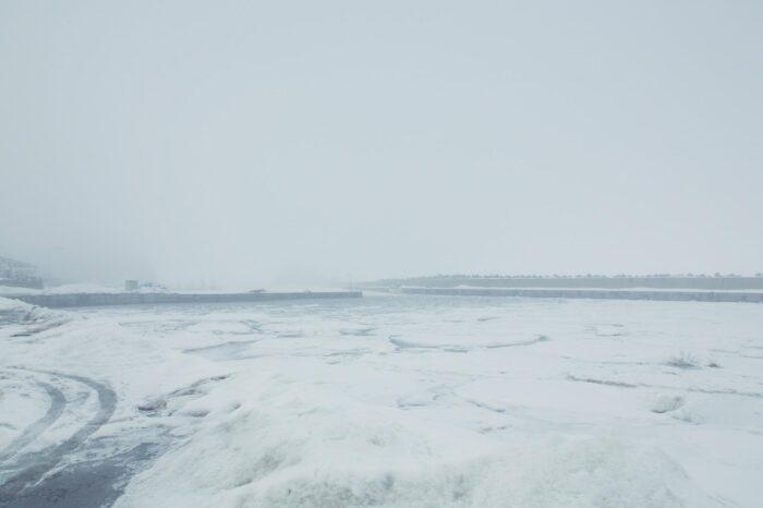 冬の北海道 三月の知床の風景