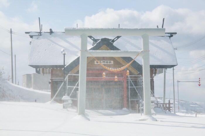 冬の北海道 二月の宗谷の風景