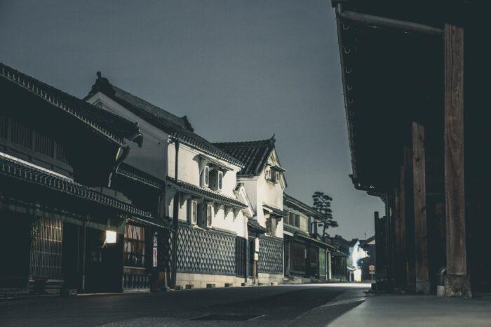 有松の町並み 夜の風景