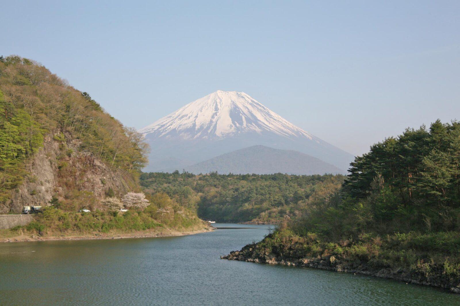 精進湖と春の富士山